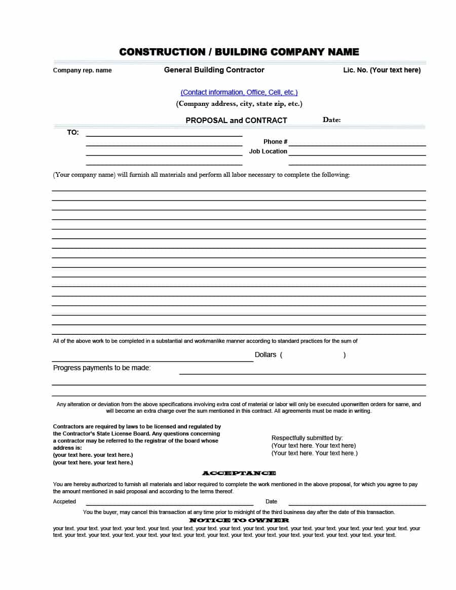 General Contractor Bid Proposal Template