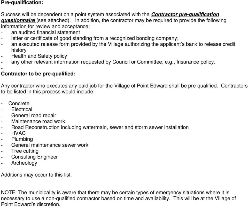 General Contractor Pre Qualification Form