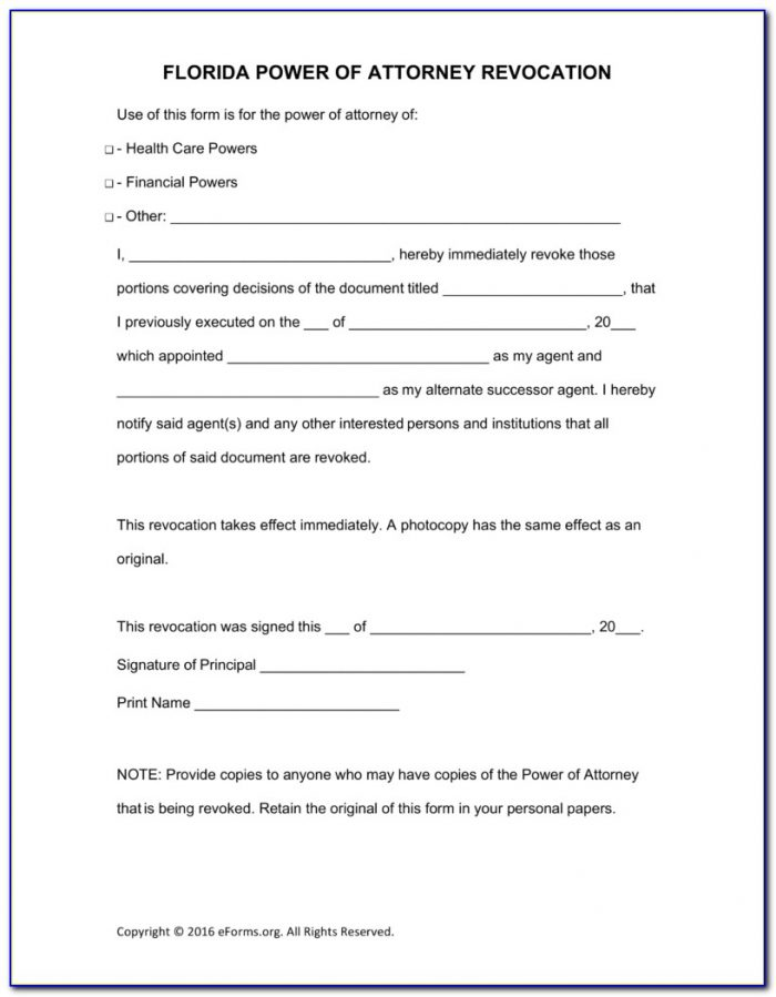 General Power Of Attorney Form Florida