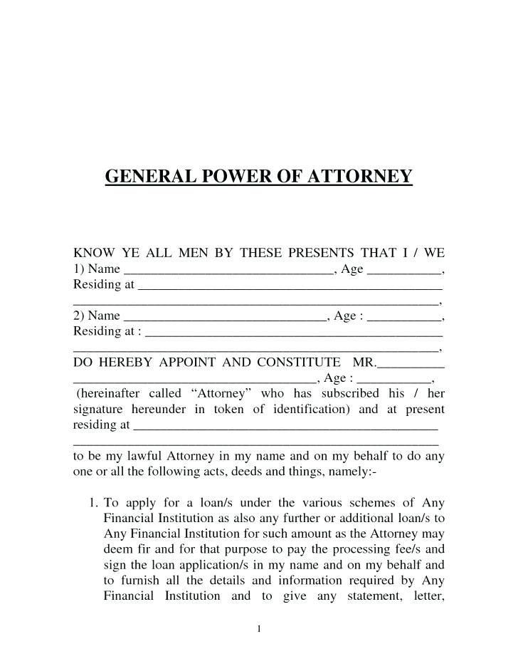 General Power Of Attorney Form Nj