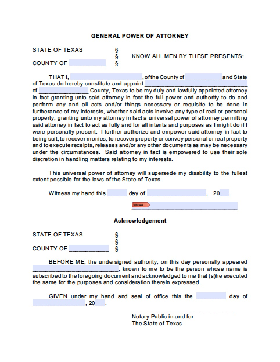 General Power Of Attorney Form Texas