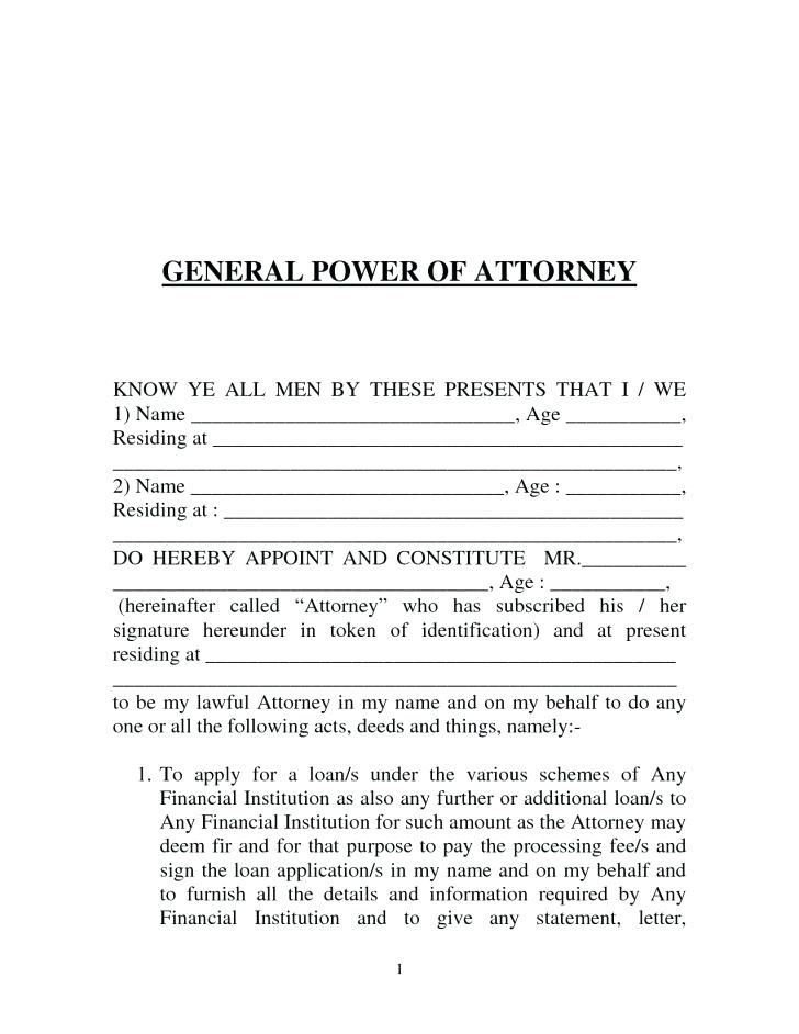 General Power Of Attorney Form Tn