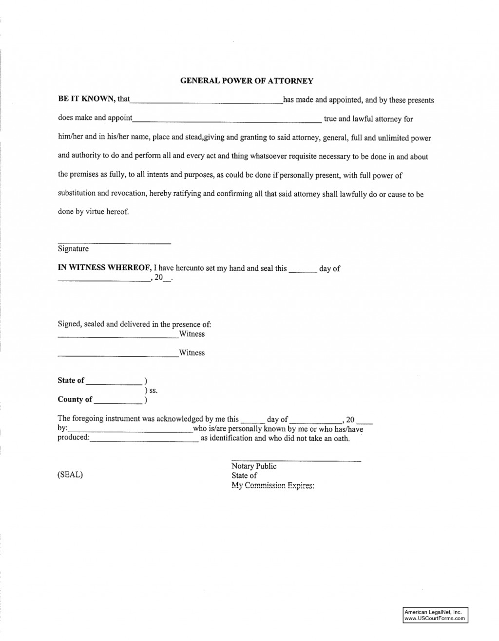 General Power Of Attorney Format In Word