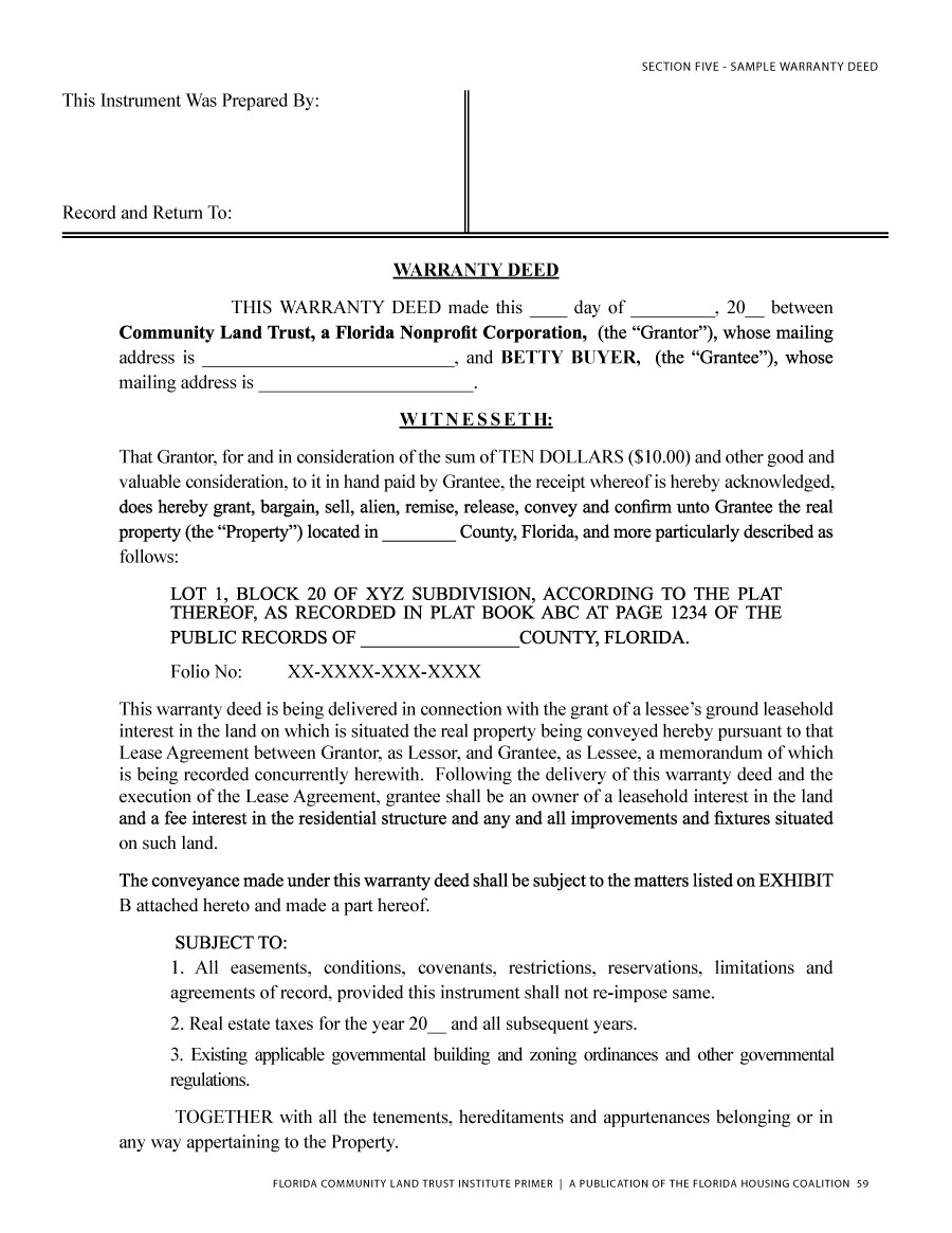 General Warranty Deed Form Florida