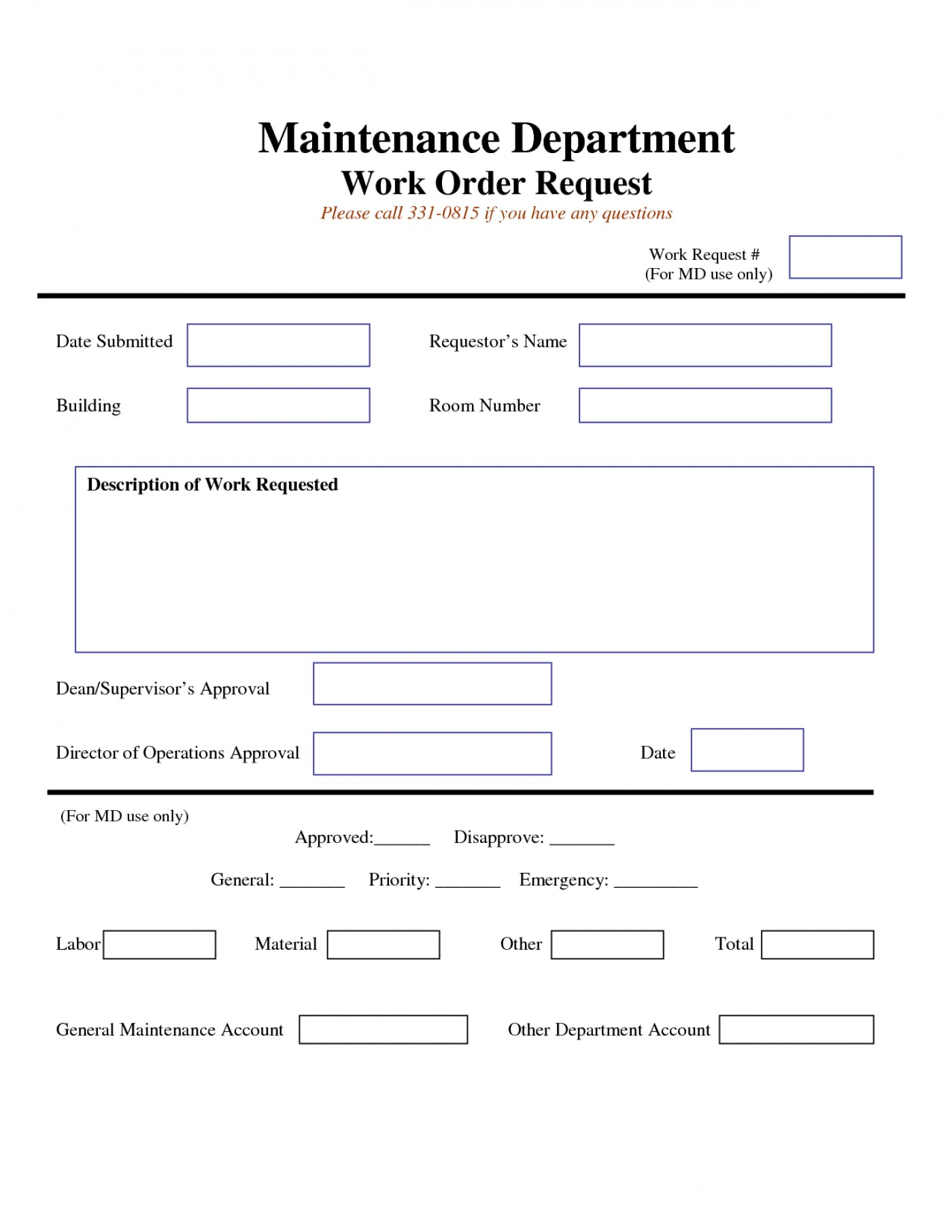 Generic Work Order Form Pdf