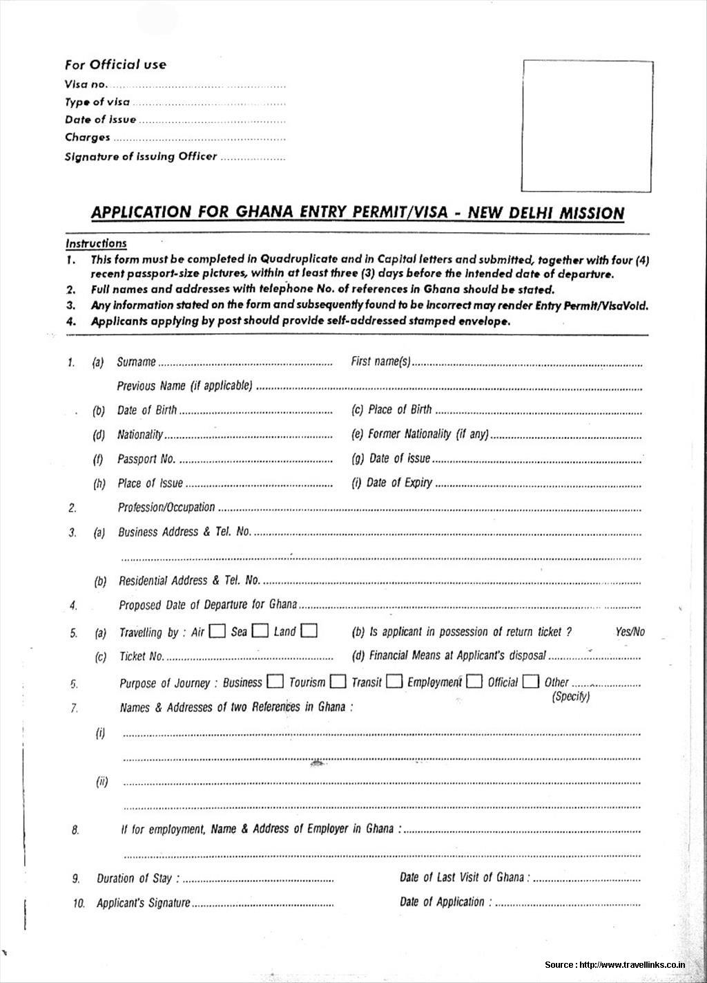 Ghana Visa Application Form Canada