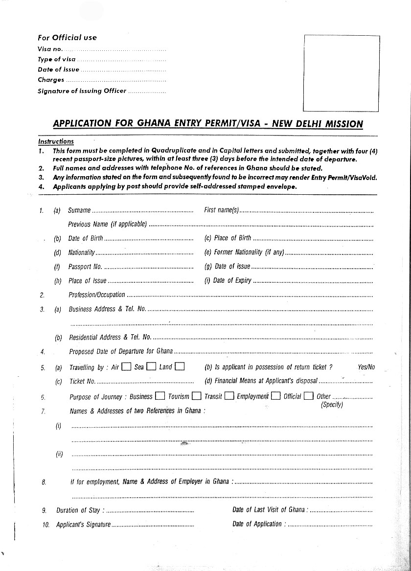 Ghana Visa Application Form Denmark