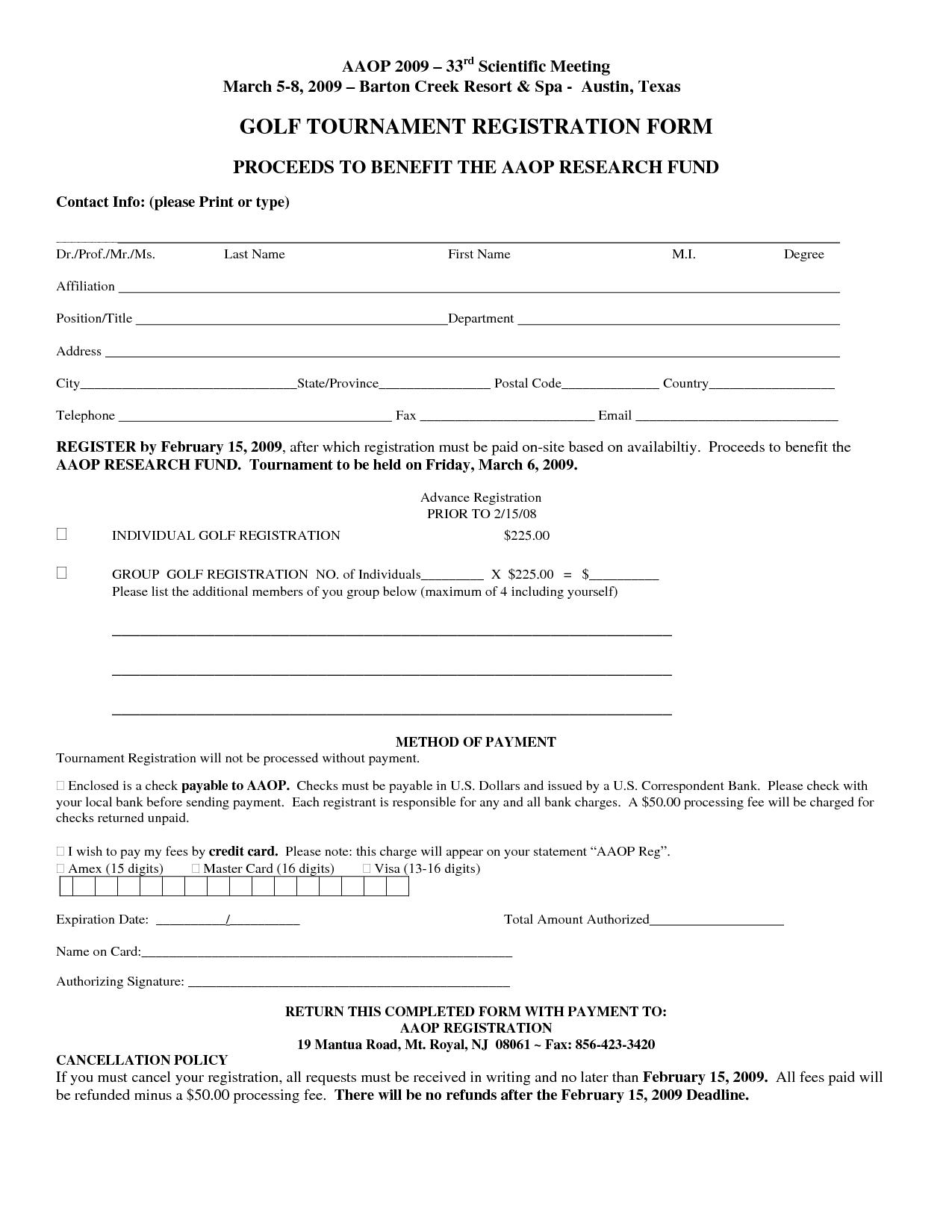 Golf Event Registration Form Template
