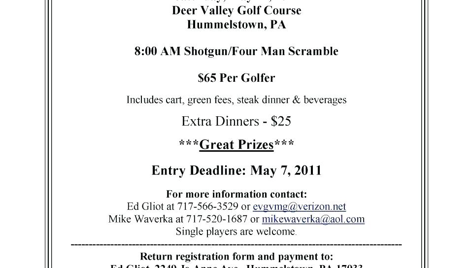 Golf Outing Registration Form Template