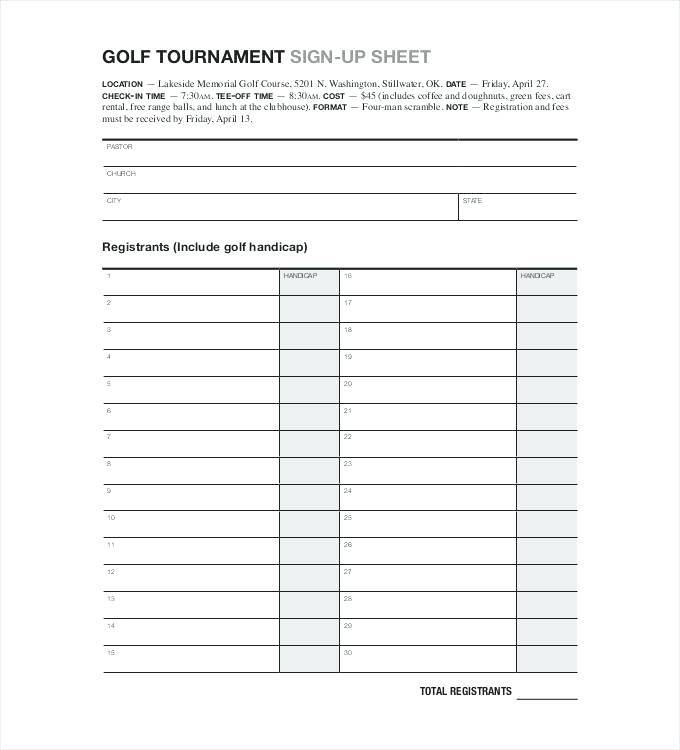 Golf Registration Form Template Free