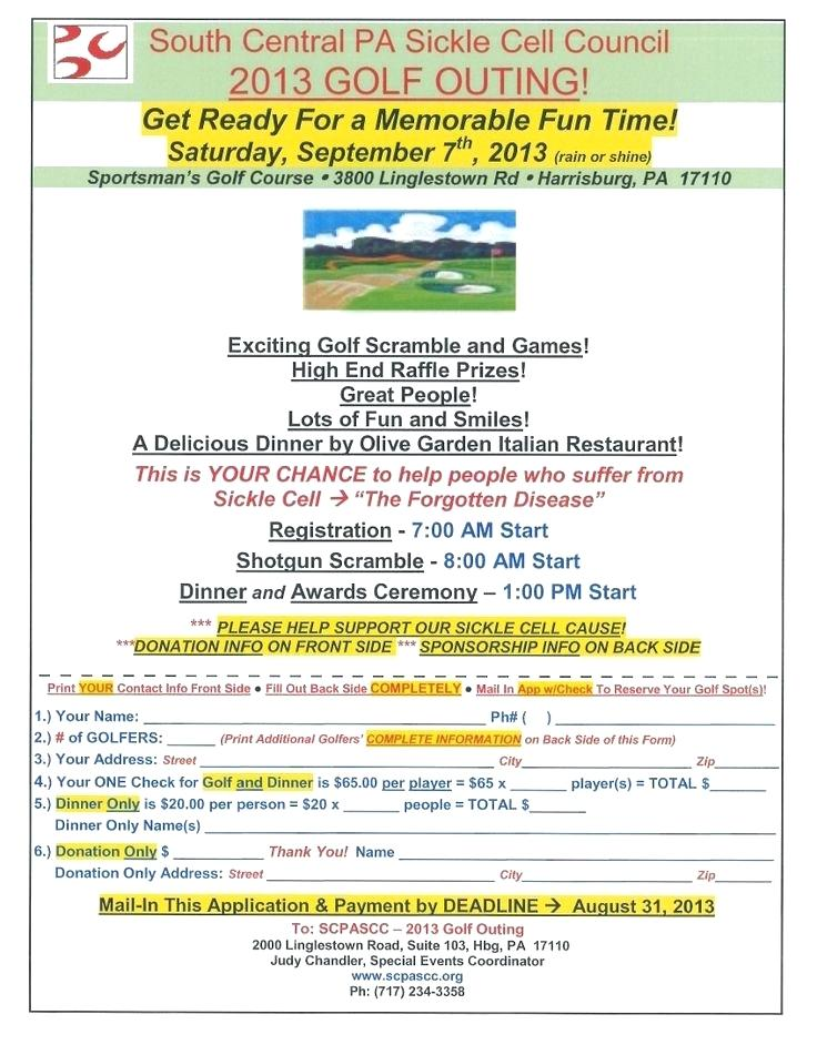 Golf Registration Form Template Word