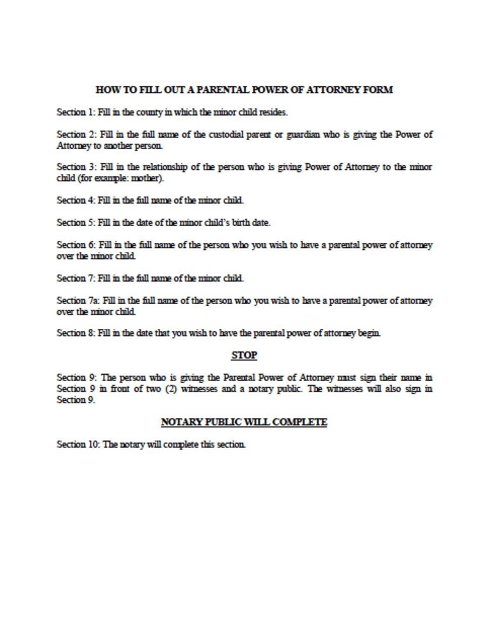 Grandparent Power Of Attorney Form Michigan