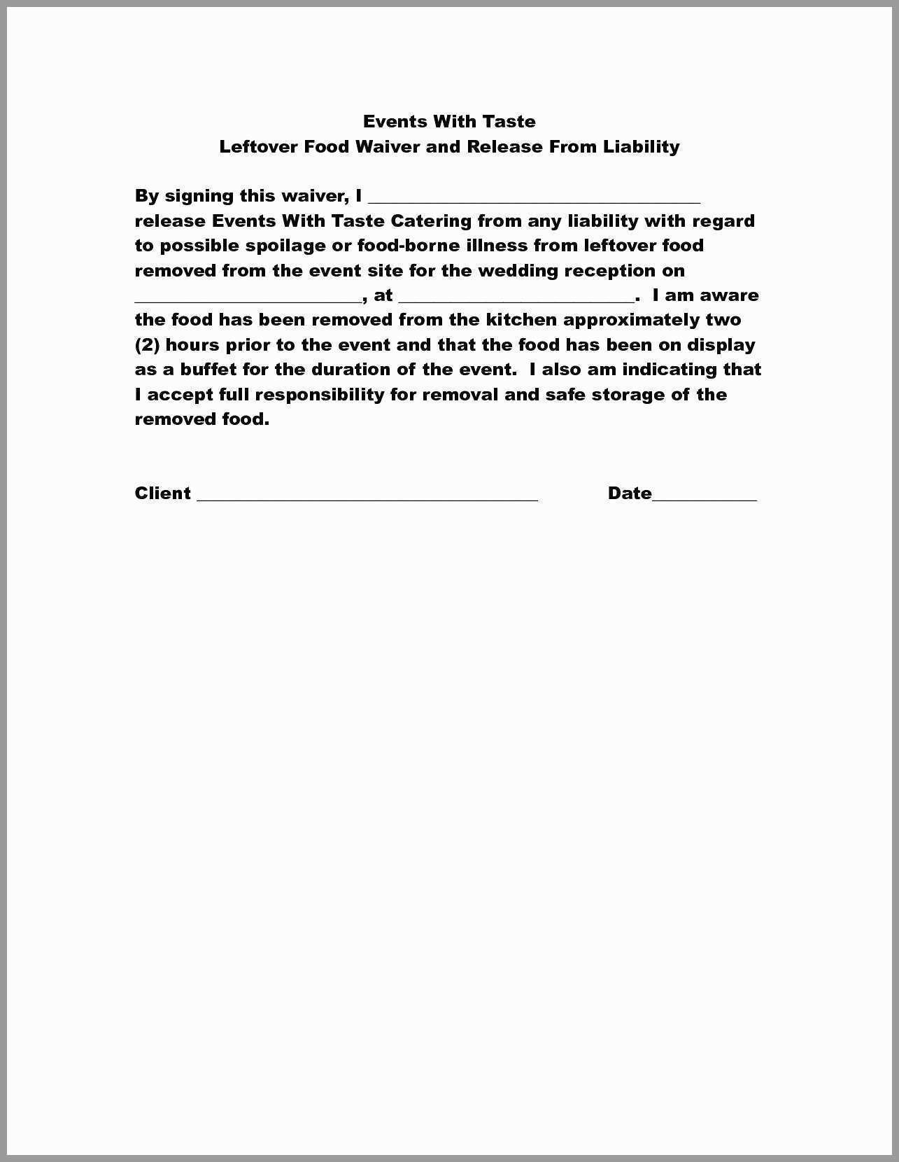 Group Fitness Waiver Template Best Release Liability Form Template Awesome 30 Unique Release From