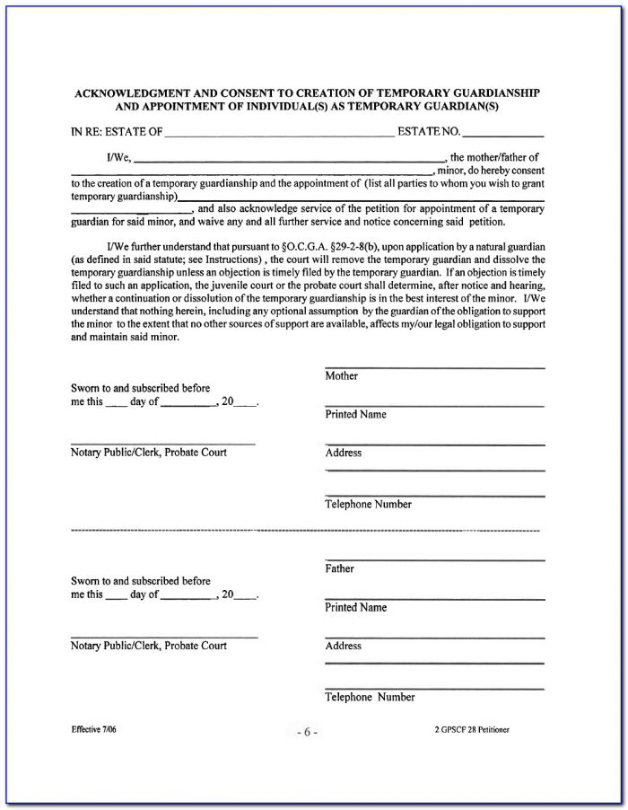 Guardianship Forms For Adults In Georgia
