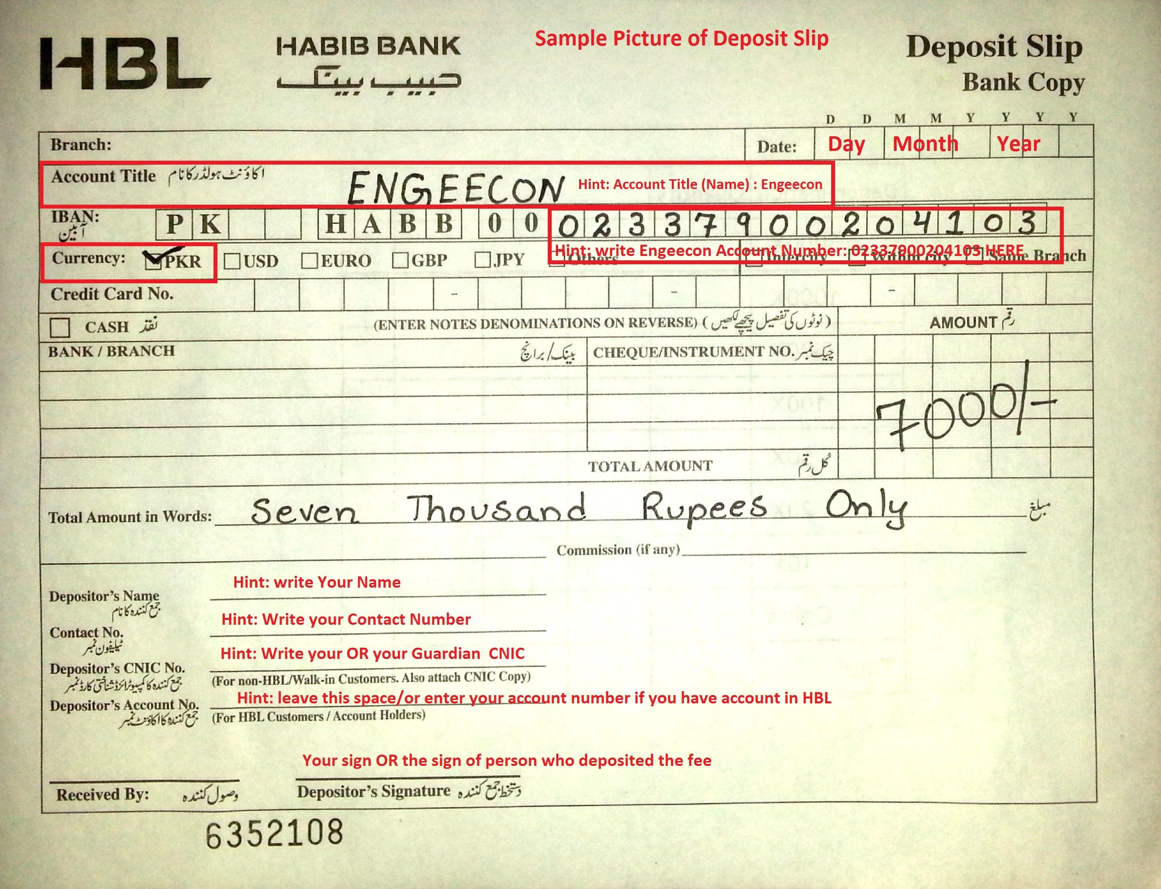 Habib Bank Account Form