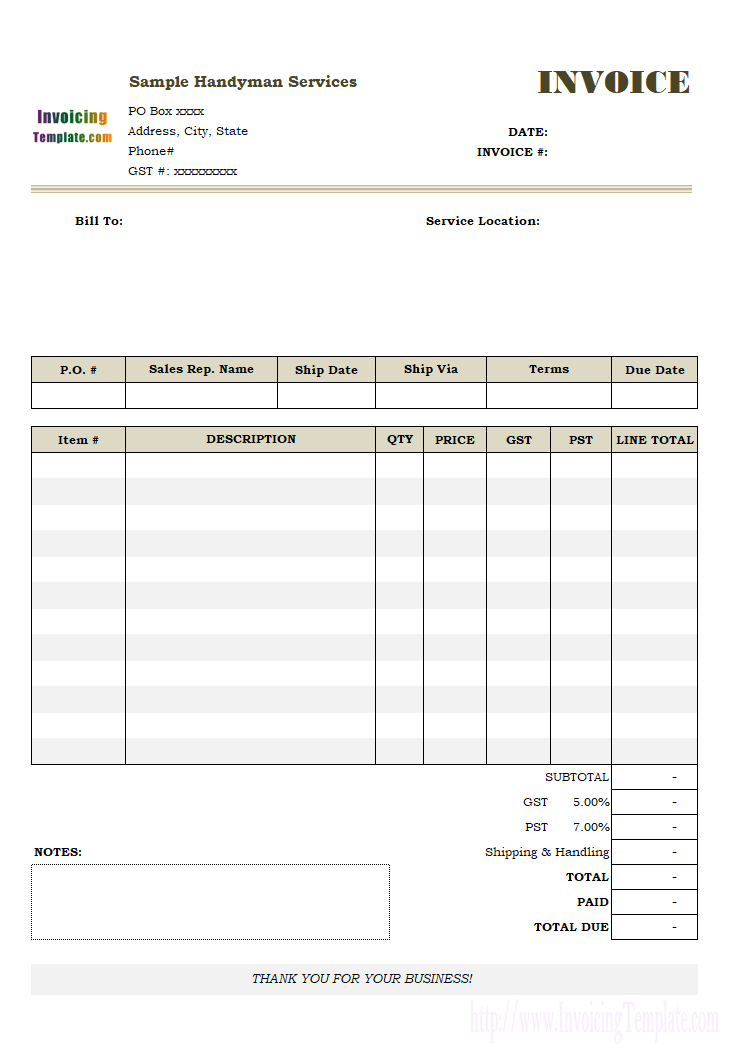 Handyman Invoice Sample