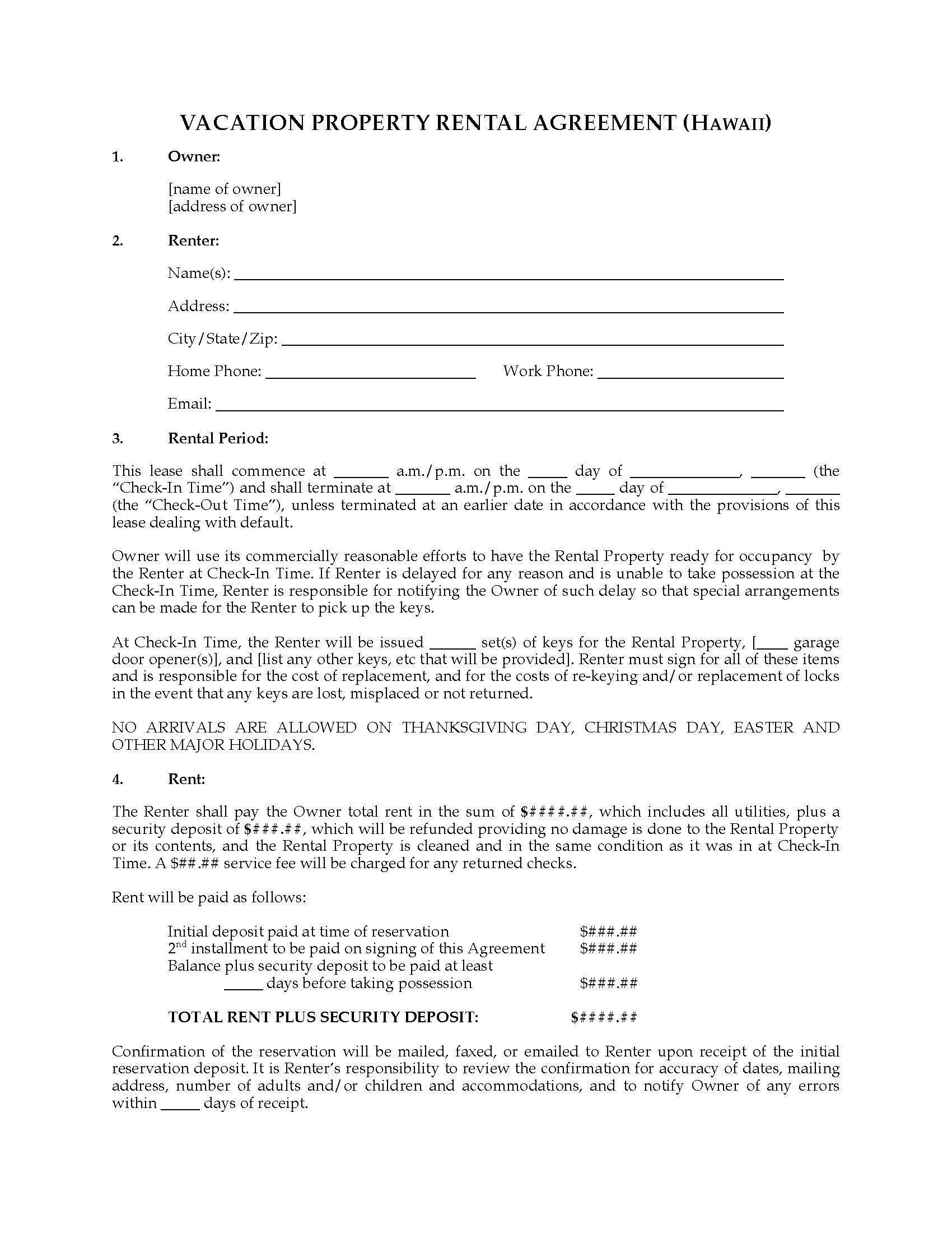 Hawaii Vacation Property Rental Agreement Legal Forms And Business Templates Megadox Com Hawaii Residential Lease Agreement Form
