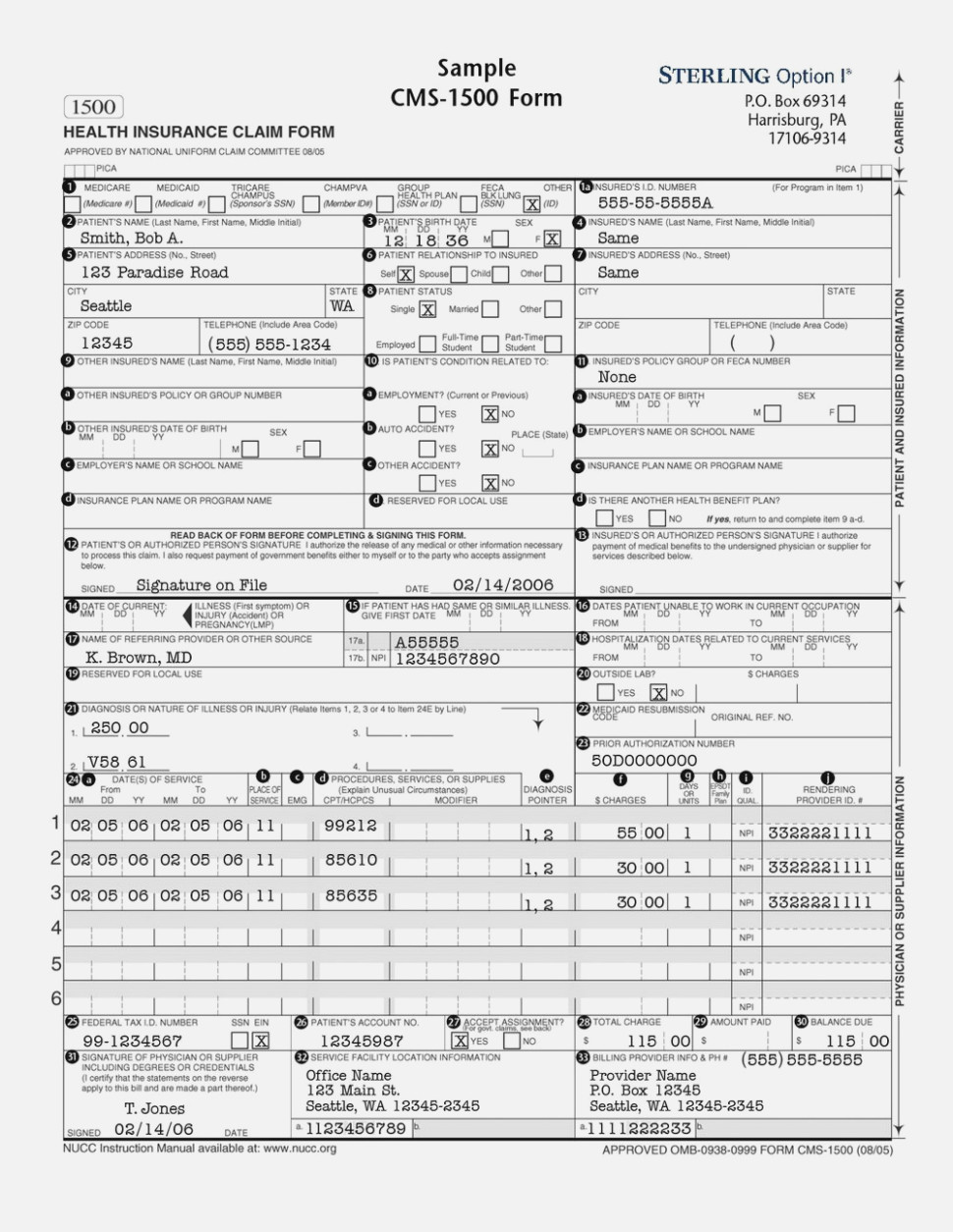 Hcfa Cms 1500 Claim Form