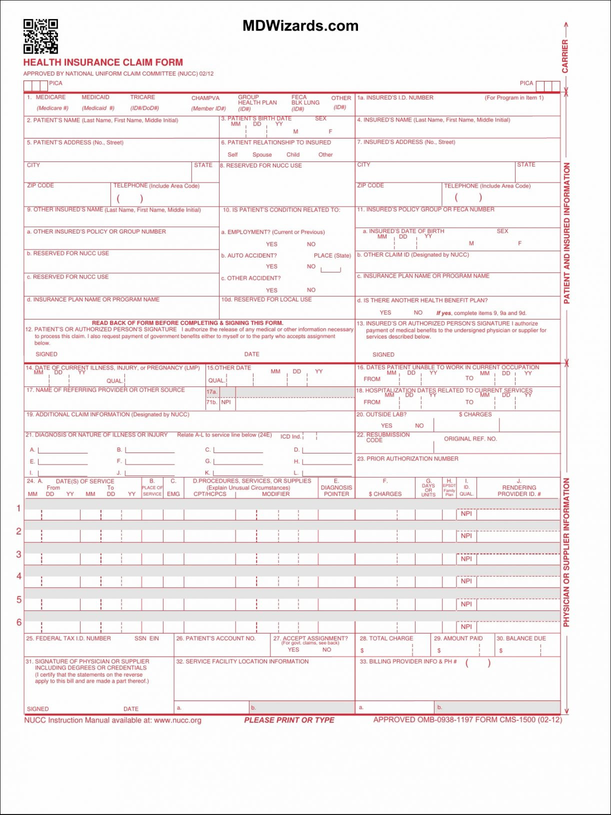 Hcfa 1500 Claim Form Fresh Hcfa Claim Form Cms Version 02 12 2 Essential Also Enlarge Cms Forms