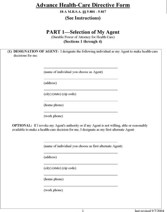Health Care Power Of Attorney Form Maine