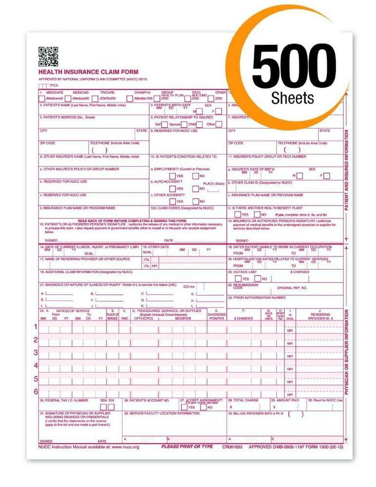 Health Insurance Claim Forms Cms 1500