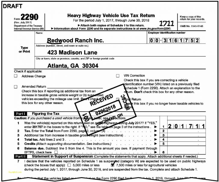 Heavy Vehicle Use Tax Form 2290 Schedule 1