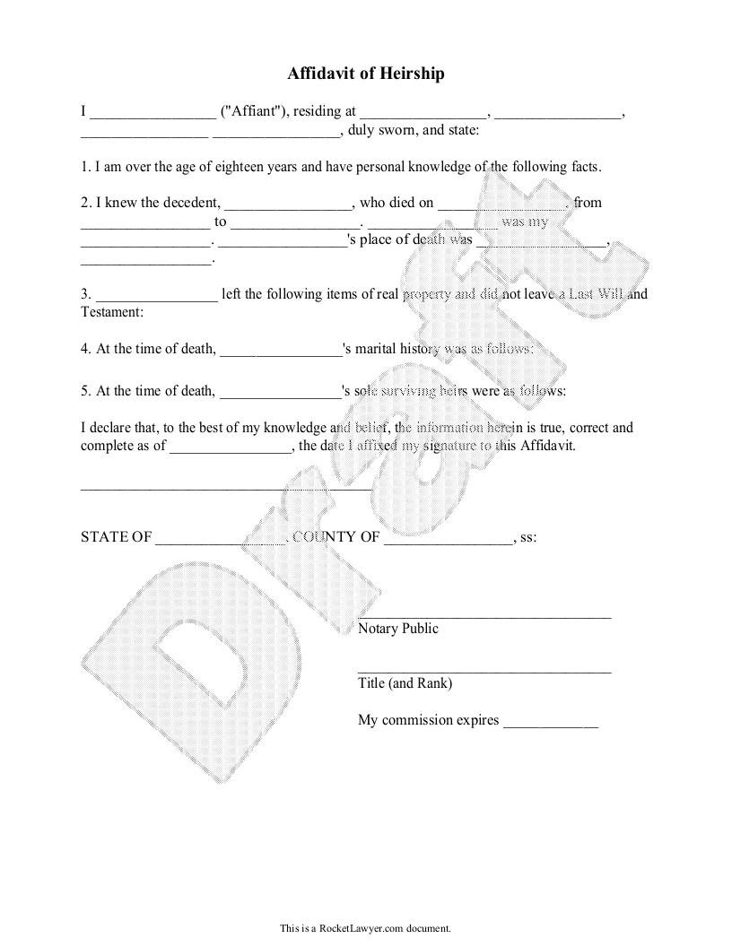 Heirship Affidavit Form