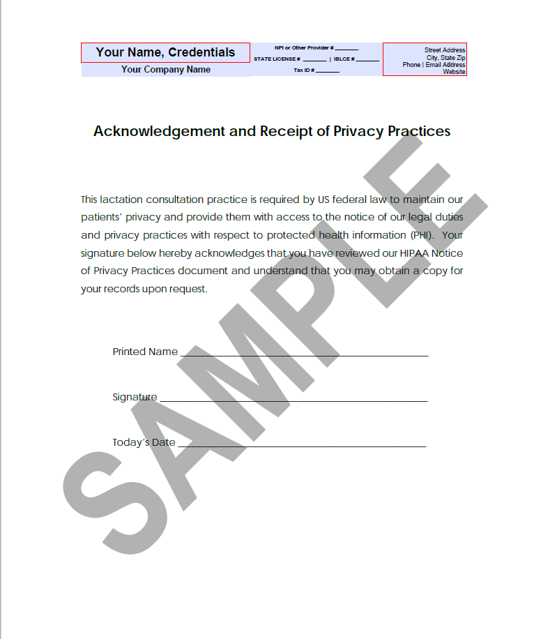 Hipaa Acknowledgement Of Receipt Of Notice Of Privacy Practices Forms