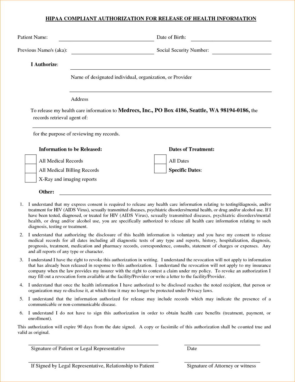 Hipaa Compliance Form In Spanish