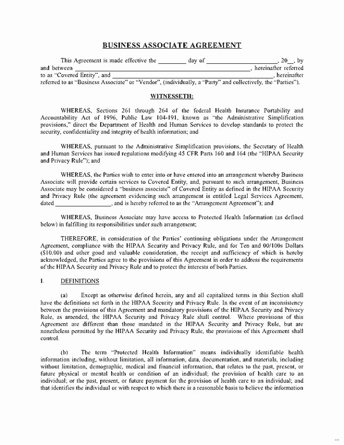 Hipaa Business Associate Agreement Template 2015 Unique Hipaa Business Associate Agreement Template 2016 Luxury Business