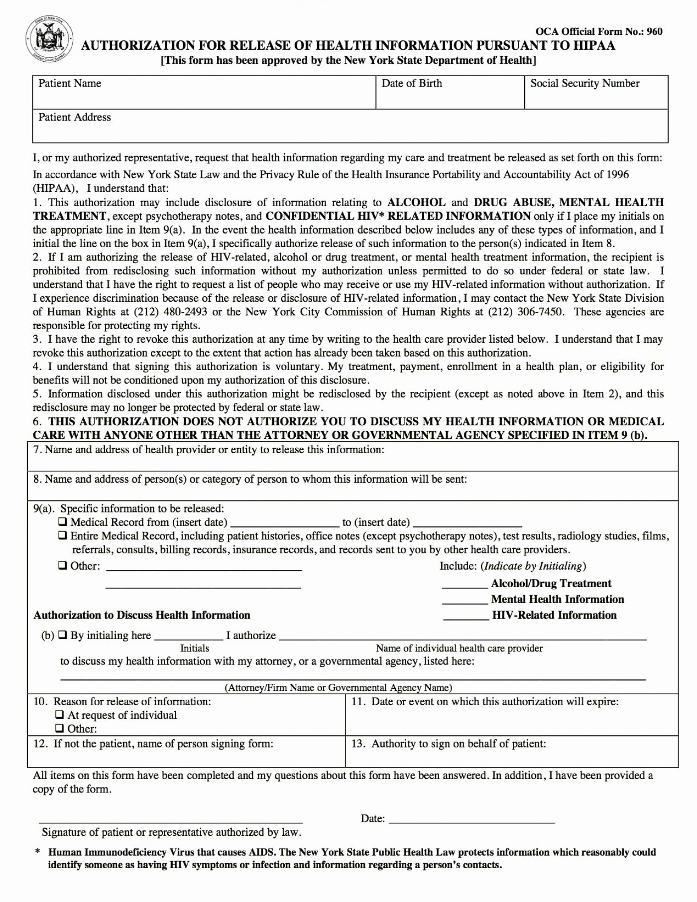 Hipaa Compliant Medical Release Form Texas