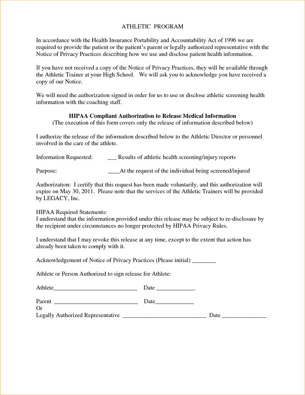 Hipaa Compliant Release Form California