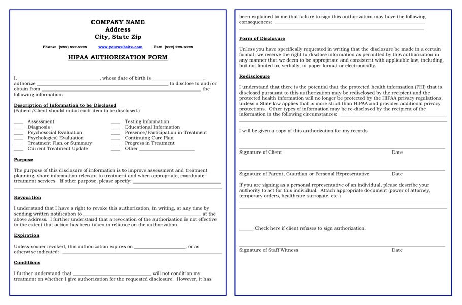Hipaa Compliant Release Forms