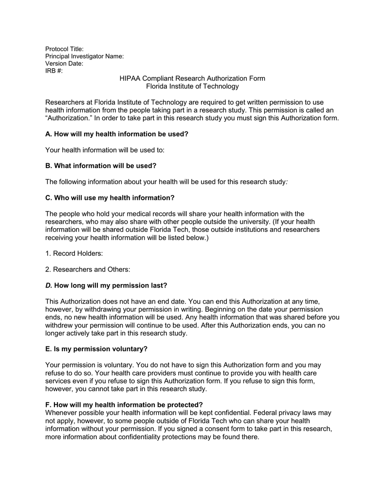 Hipaa Compliant Research Authorization Form