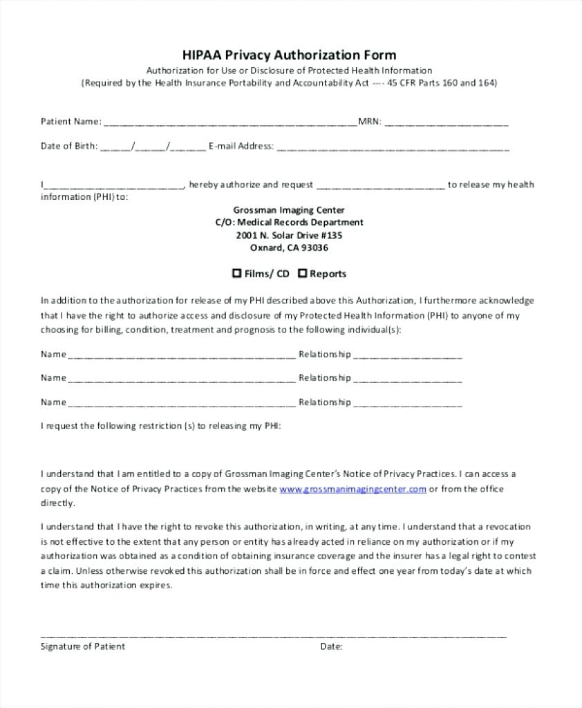 Hipaa Form Patients Sign