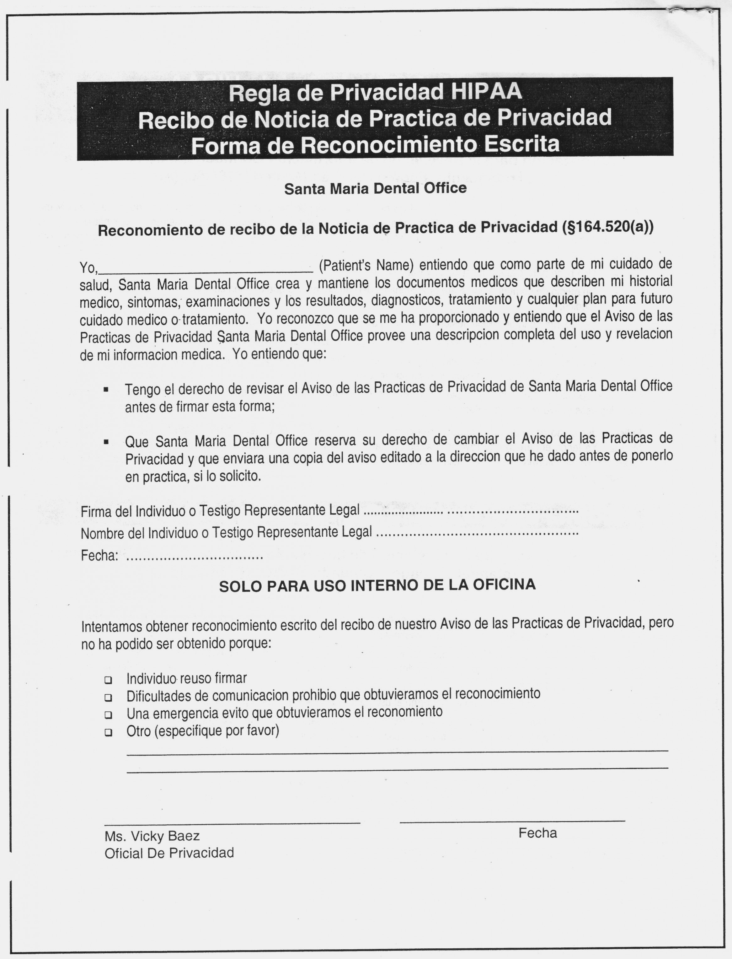 Hipaa Forms For Dental Offices