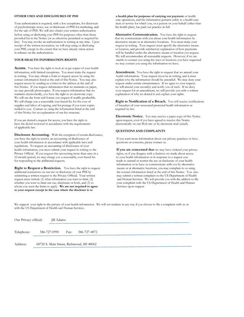 Hipaa Notice Of Privacy Practices Form 2015