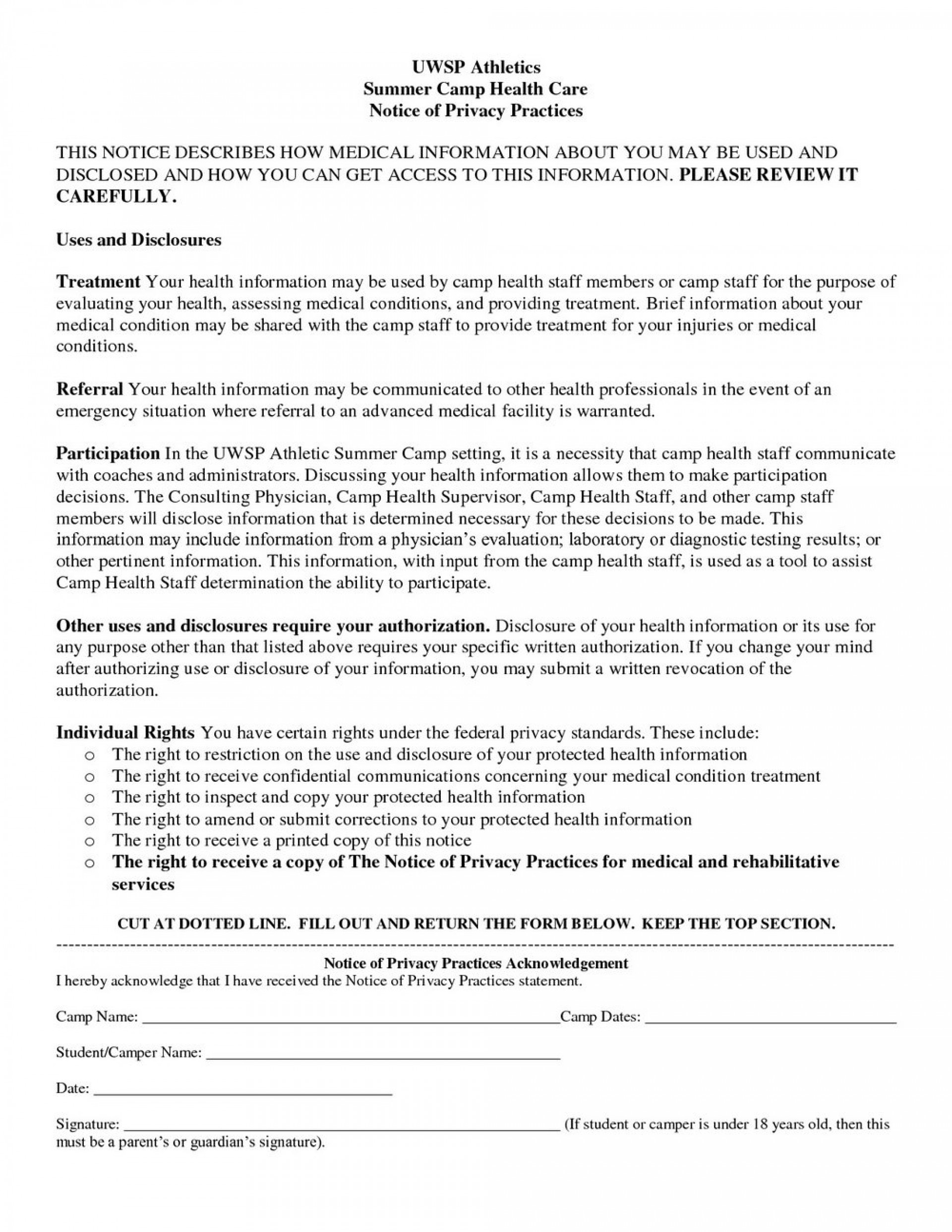 Hipaa Notice Of Privacy Practices Form Pdf 2017