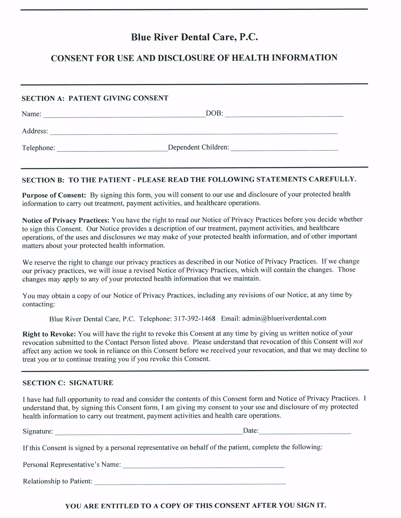 Hipaa Privacy Agreement Form