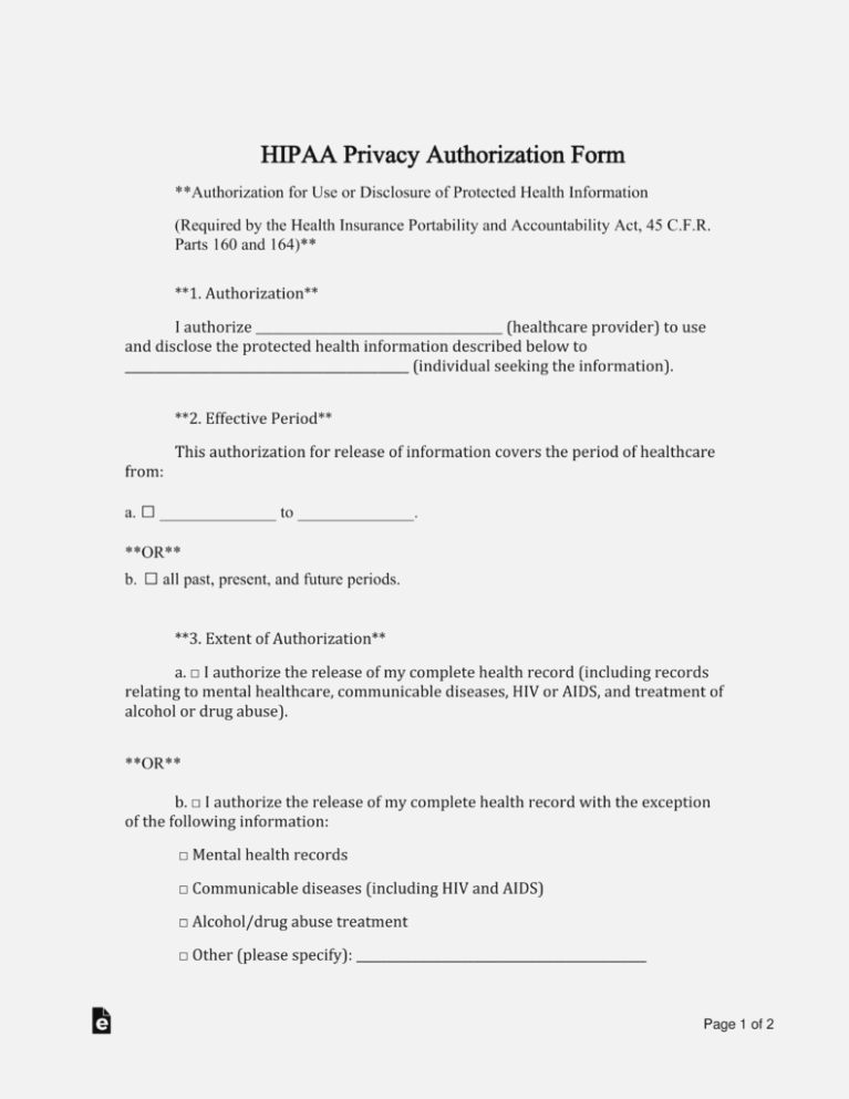 Hipaa Privacy Authorization Form Spanish