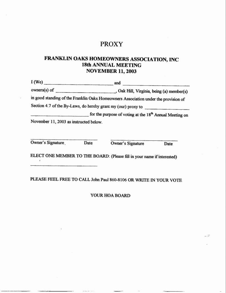 Hoa Proxy Vote Form Template