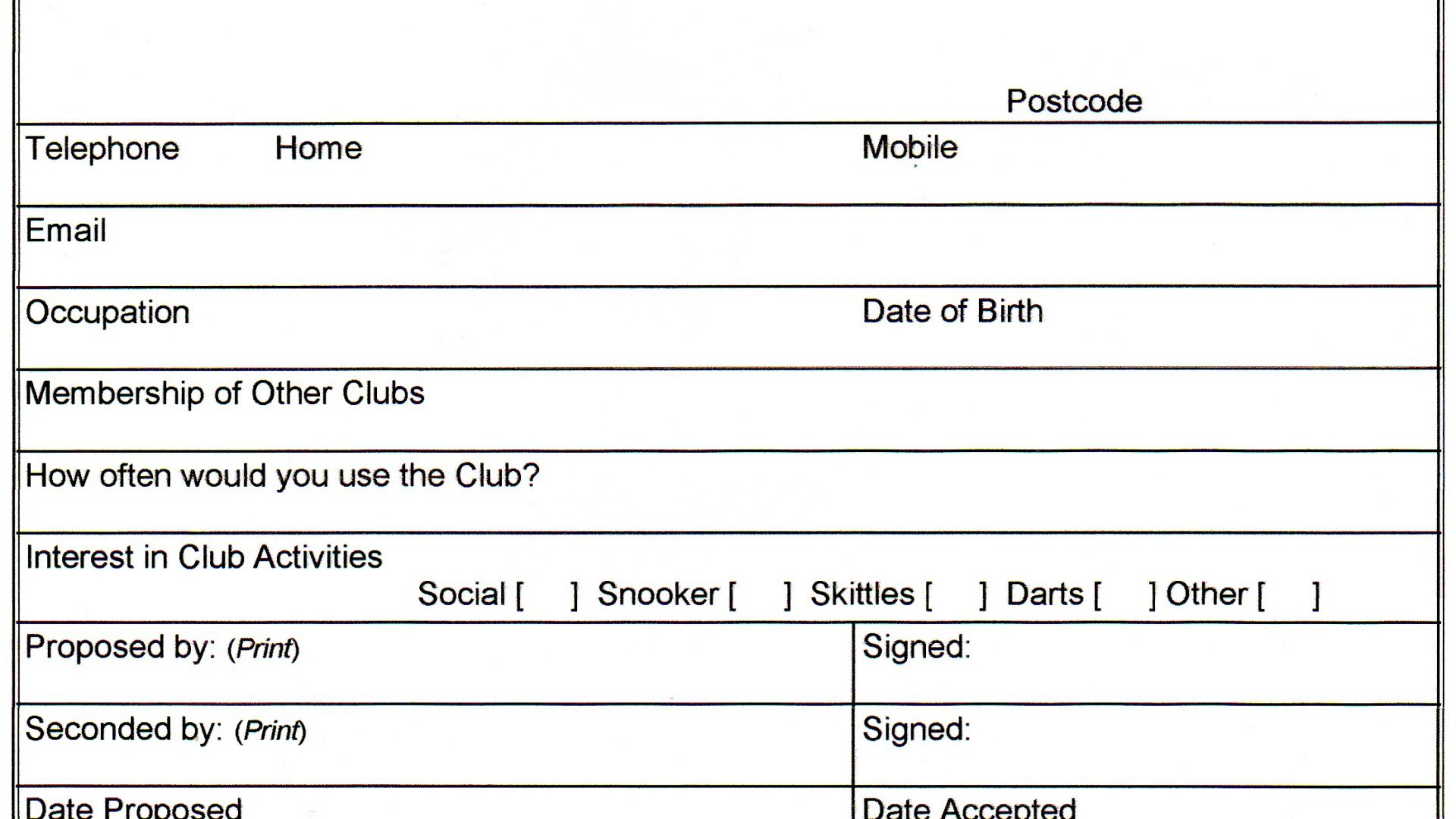 Holiday Club Registration Form Template