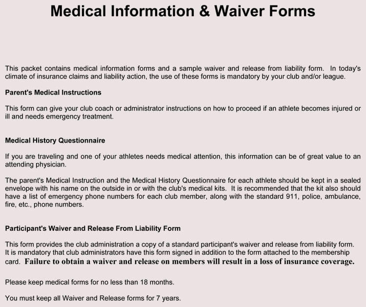 Home Child Care Liability Waiver Form