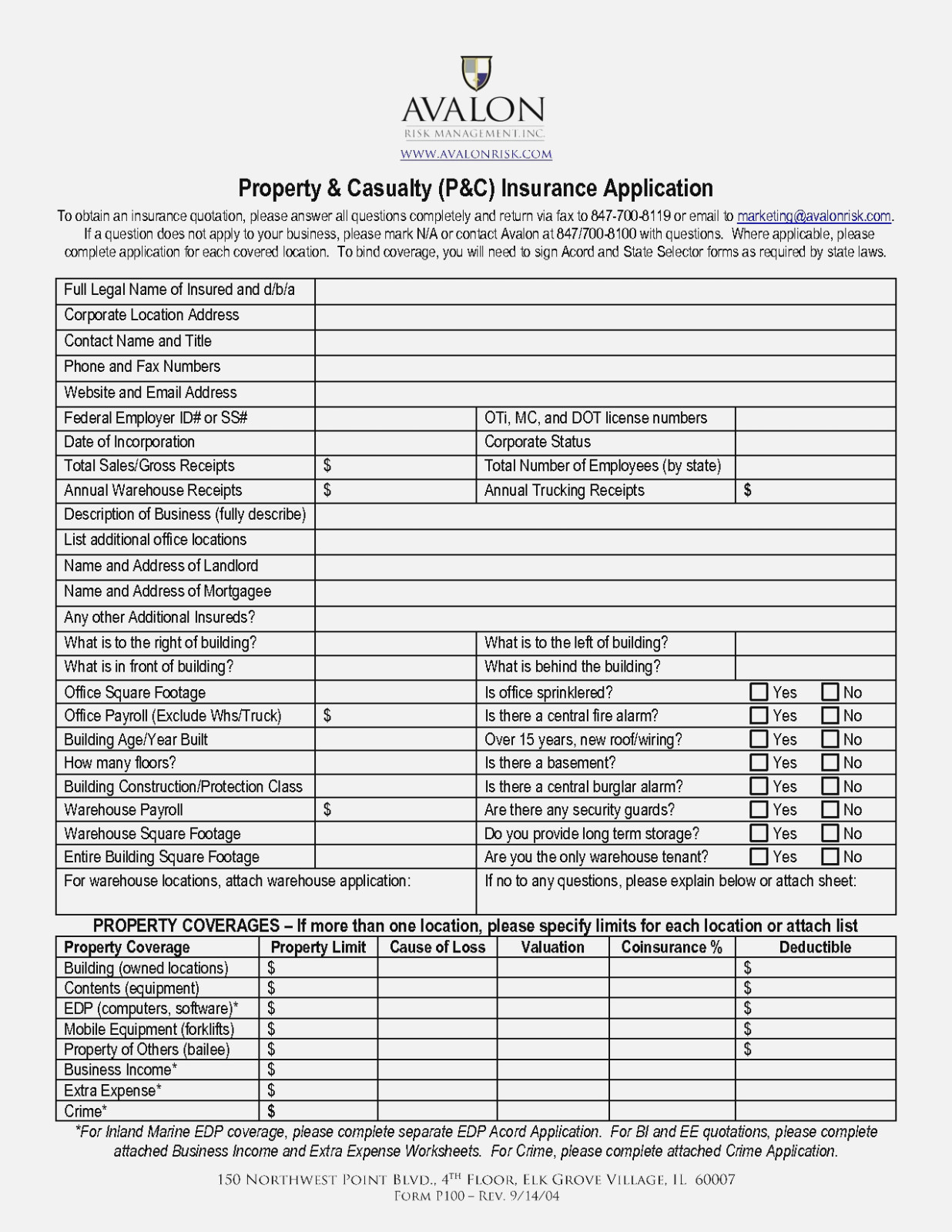 Home Insurance Application Form