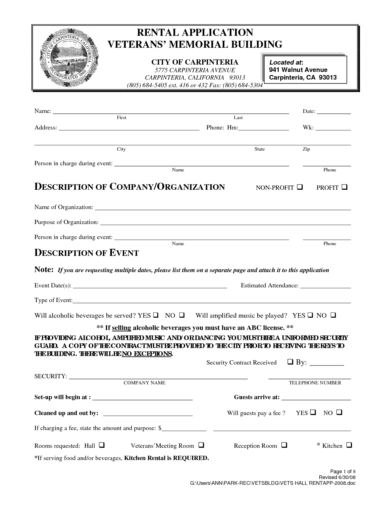 Home Rental Application Form California
