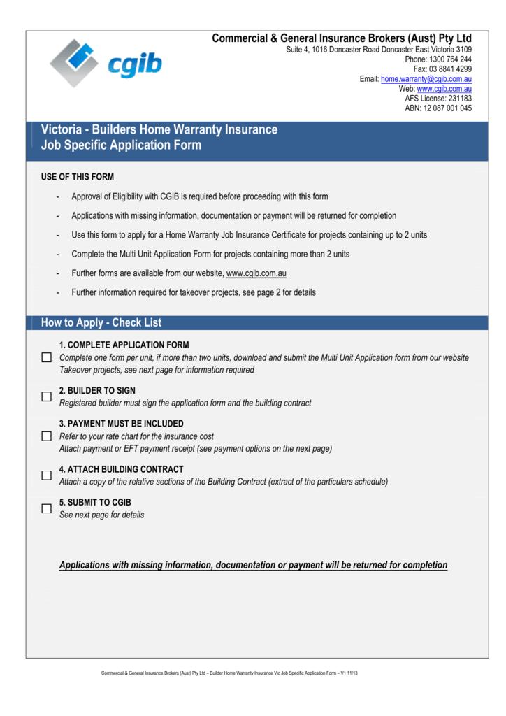 Home Warranty Insurance Application Form