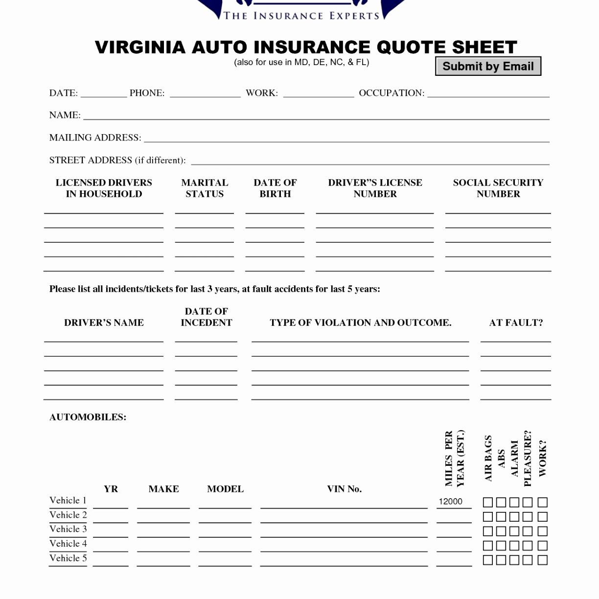 Homeowners Insurance Quote Request Form