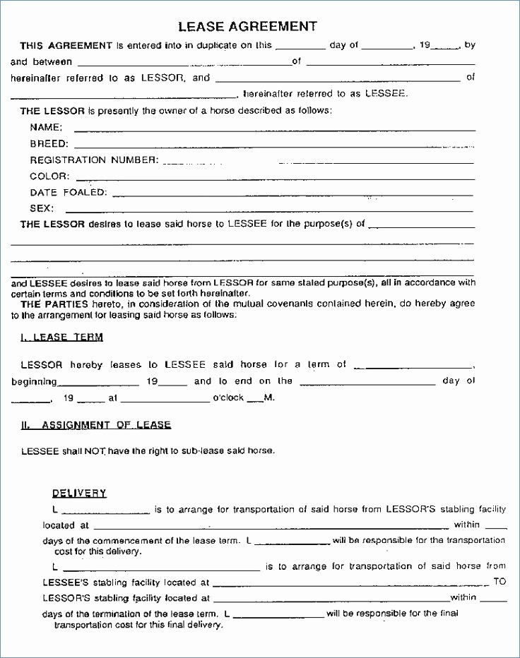 Horse Lease Agreement Form Free