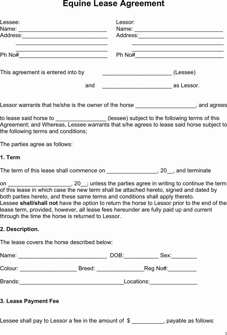 Horse Lease Agreement Elegant Editable Horse Lease Agreement With Inside Horse Lease Agreements