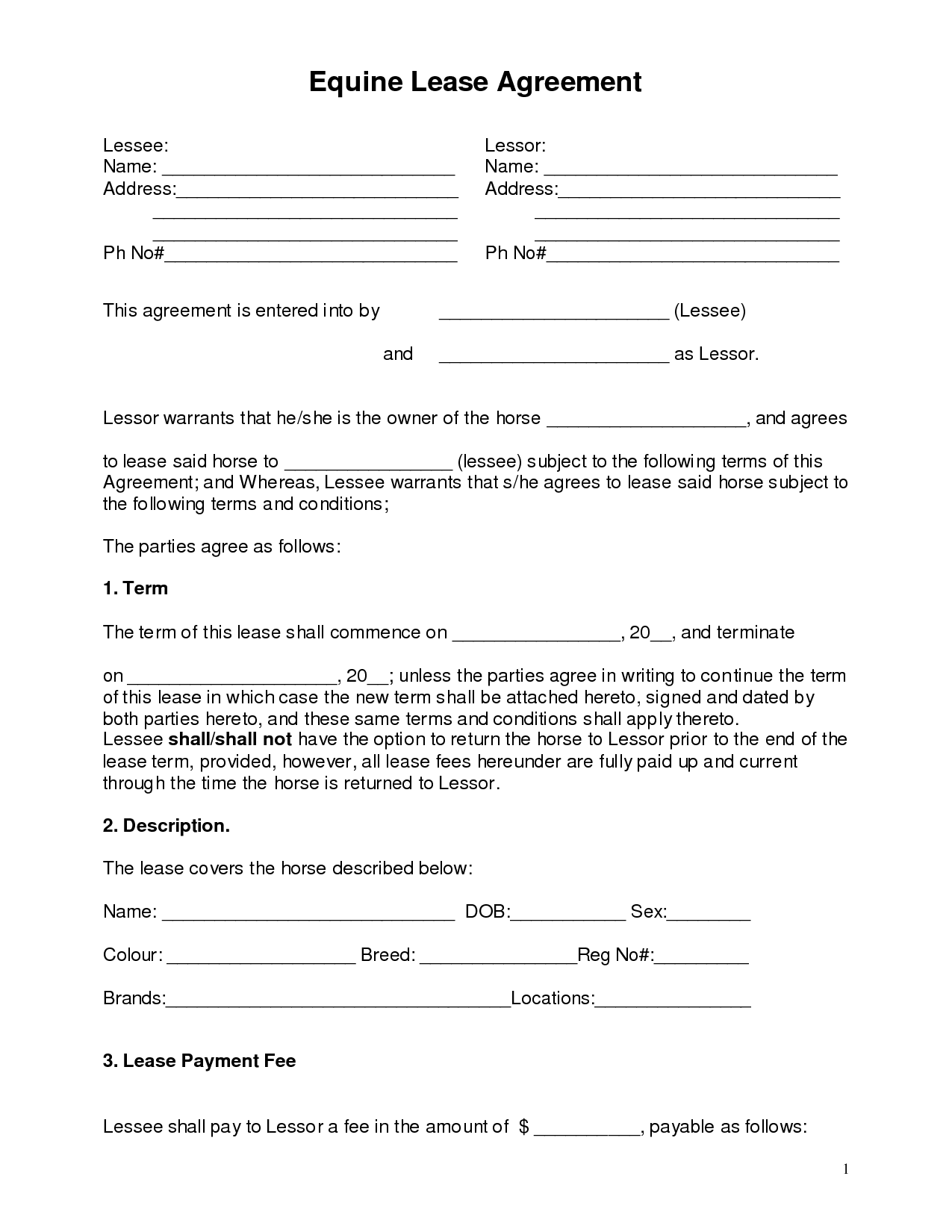 Horse Lease Paperwork